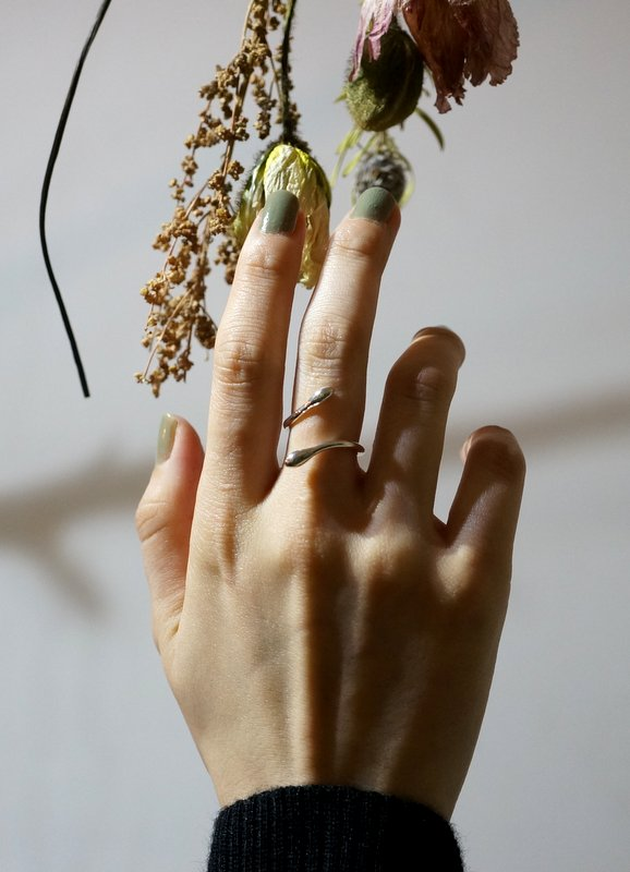 in her spiral ring