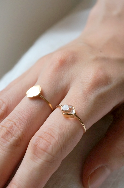 in her  K10 Wrapping Herkimer diamond  ring