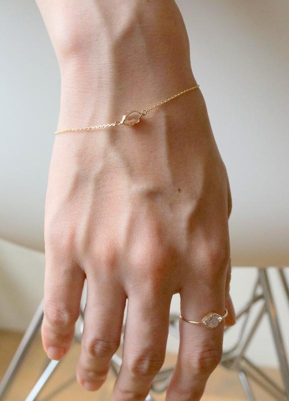 in her  K10 Wrapping Herkimer diamond  bracelet