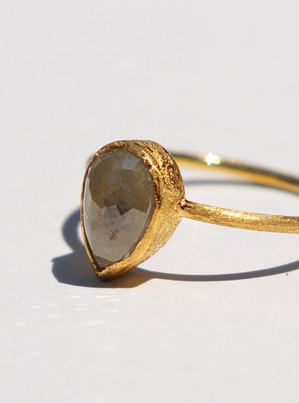 HAVITAS ラフカットペアシェイプダイヤモンドリング 1.9ct K18 #16 【一点物】