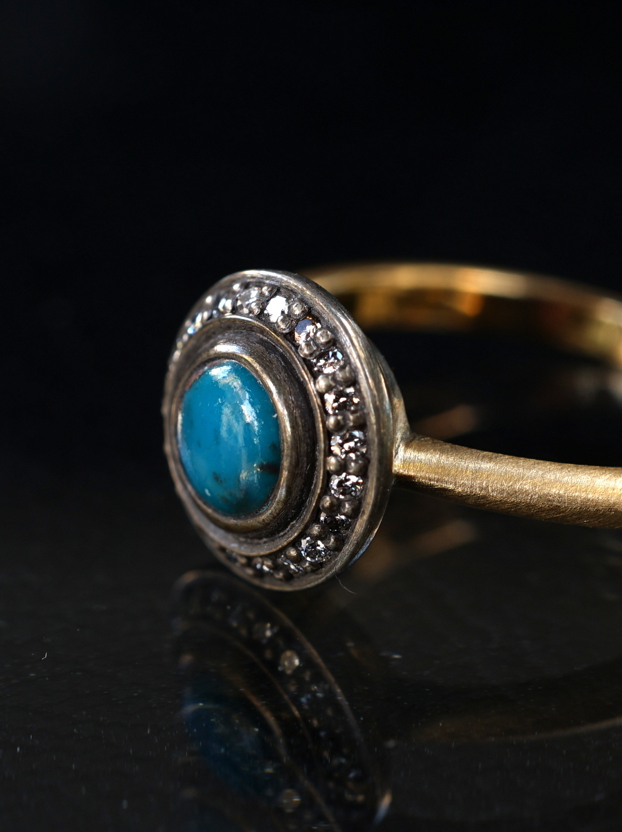 YES / SHADOW CLUSTER TURQUOISE RING_RO