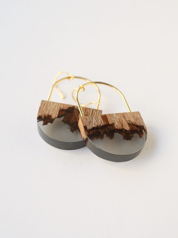 【期間限定11/29まで】nooca(ノーカ)折木楕円フックピアス/イヤリング