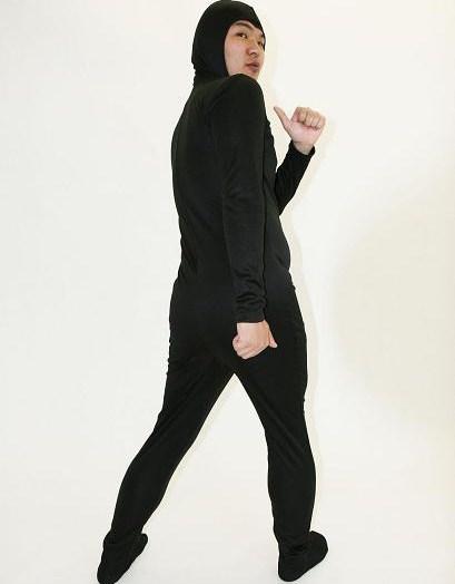 全身かぶりもの・全身タイツくん黒、Lサイズ