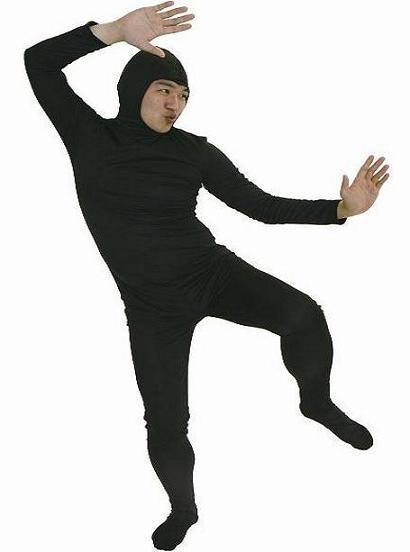 全身かぶりもの・全身タイツくん黒、Mサイズ