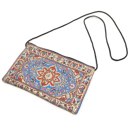 トルコ 絨毯柄ショルダーポーチ NP-FL010 ブルー×レッド
