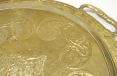 オリエンタルメタルウェア 持ち手付きオーバル型ブラス(真鍮)トレイ/ゴールド色 CP-048