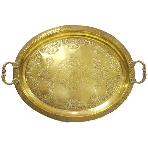 オリエンタルメタルウェア 持ち手付きオーバル型ブラス(真鍮)トレイ/ゴールド色 CP-049