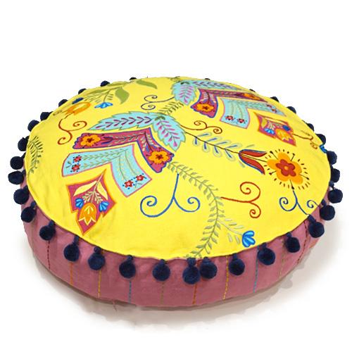 ジャコビアン様式柄 アップリケ刺繍ラウンドクッションカバー 直径約55cm イエロー VL-CC60-EBYL
