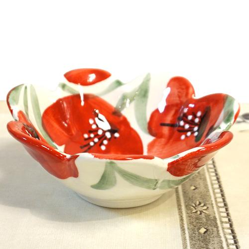スペイン陶器 SP-6012APH フリルボウル/赤いポピー
