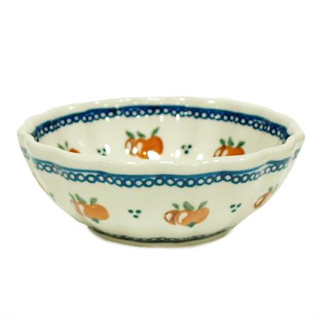 ポーランド陶器 ポーリッシュポタリー 「ボレスワヴィエツ」 花型ボウル GU1518-479 オレンジ柄