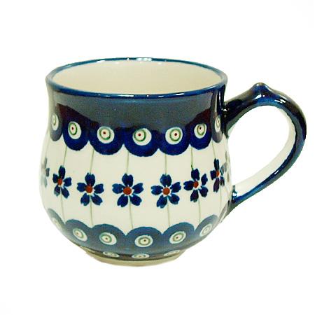 ポーランド陶器 ポーリッシュポタリー 「ボレスワヴィエツ」 マグカップ(約230cc) GU1472-166A ピーコック/さくら柄
