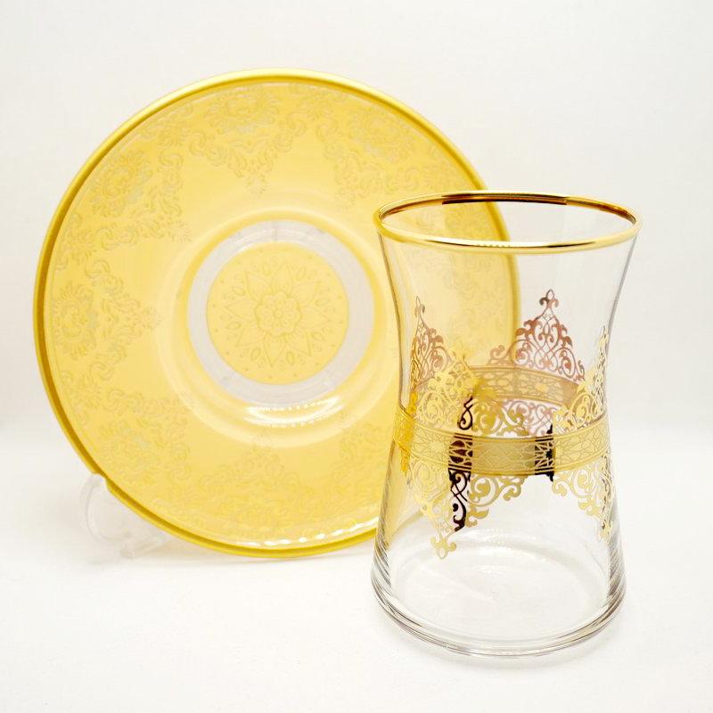 トルコ製チャイグラス CB-274 アラベスク/金彩クリーム(1客) 大サイズ