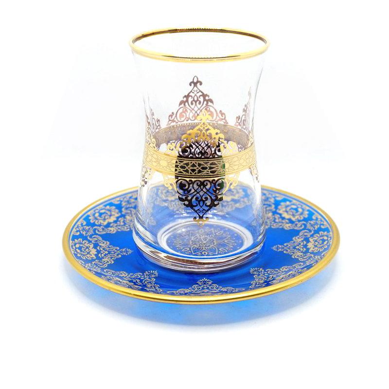 トルコ製チャイグラス CB-275 アラベスク/金彩ブルー(1客) 大サイズ