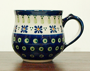 ポーランド陶器 ポーリッシュポタリー 「ボレスワヴィエツ」 マグカップ(約230cc) GU1472-296A 緑目玉/青花柄