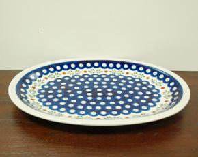 ポーランド陶器 ポーリッシュポタリー 「ボレスワヴィエツ」 オーバルプレート GU1006-242 藍目玉/リーフ柄