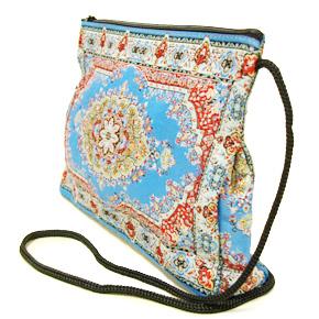 トルコ 絨毯柄ショルダーポーチ NP-LL104 ブルー