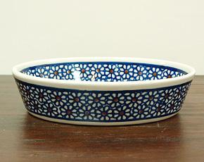 ポーランド陶器 ポーリッシュポタリー 「ボレスワヴィエツ」 オーバルグラタン皿小 GU703-120 ブルーデイジー柄