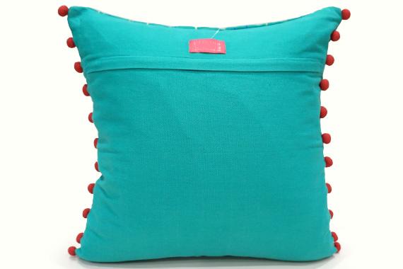ドット刺繍&ポンポン付クッションカバー 40cm角 ターコイズ VL-CC-DTTQ