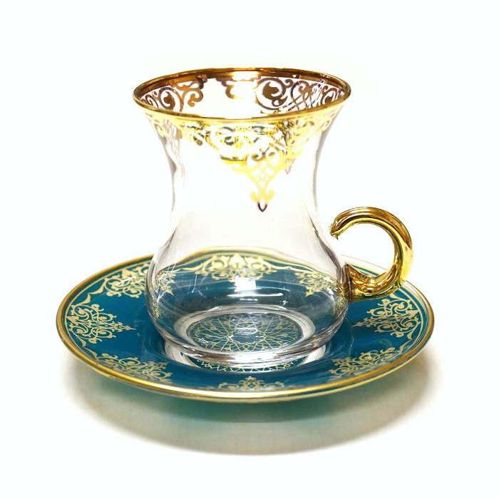 トルコ製チャイグラス CB-237 グリーンアラベスク/クリア(1客) 大サイズハンドル付