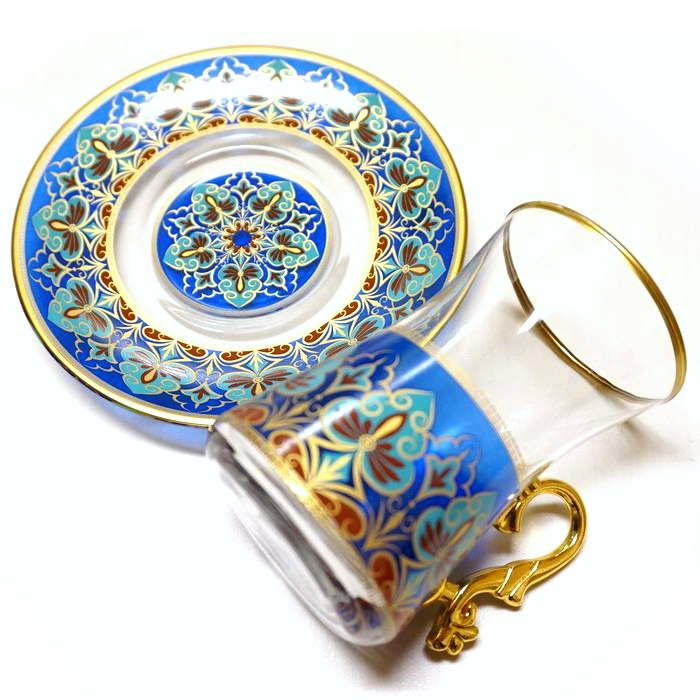 トルコ製チャイグラス CB-240 リーフ/ブルー(1客) 大サイズハンドル付