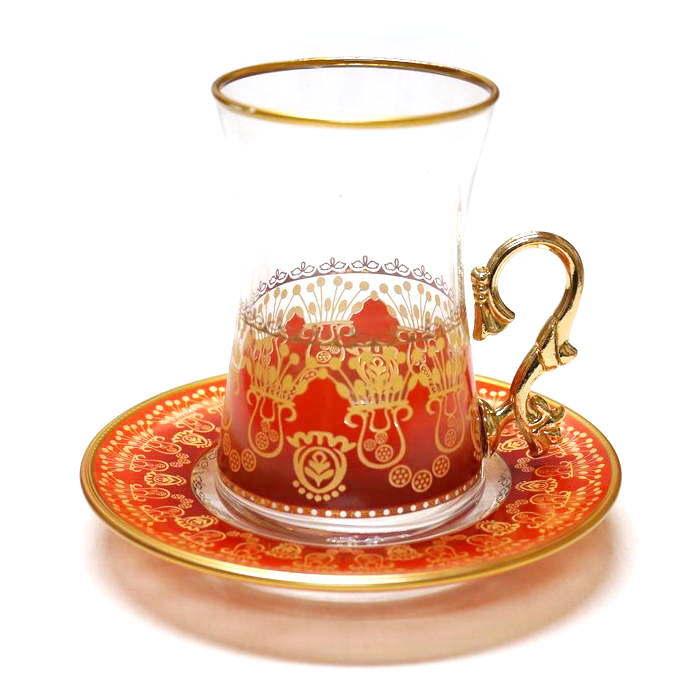 トルコ製チャイグラス CB-244 花束/オレンジ(1客) 大サイズハンドル付