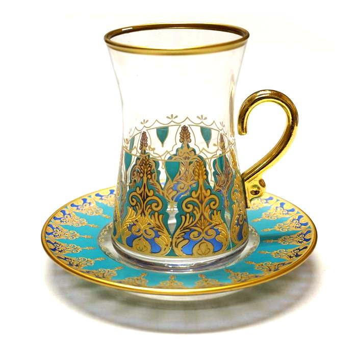 【訳あり値引き】トルコ製チャイグラス CB-242 アラベスク/ターコイズ(1客) 大サイズハンドル付