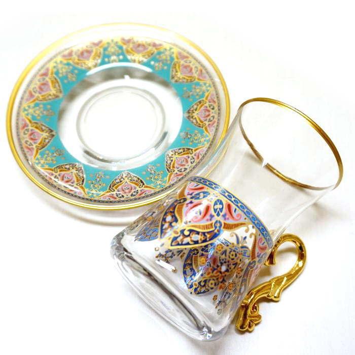 【訳あり値引き】トルコ製チャイグラス CB-243 アラベスク/ターコイズxピンク(1客) 大サイズハンドル付