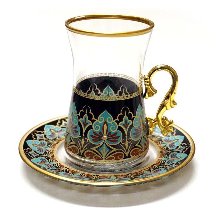 トルコ製チャイグラス CB-241 リーフ/ブラック(1客) 大サイズハンドル付