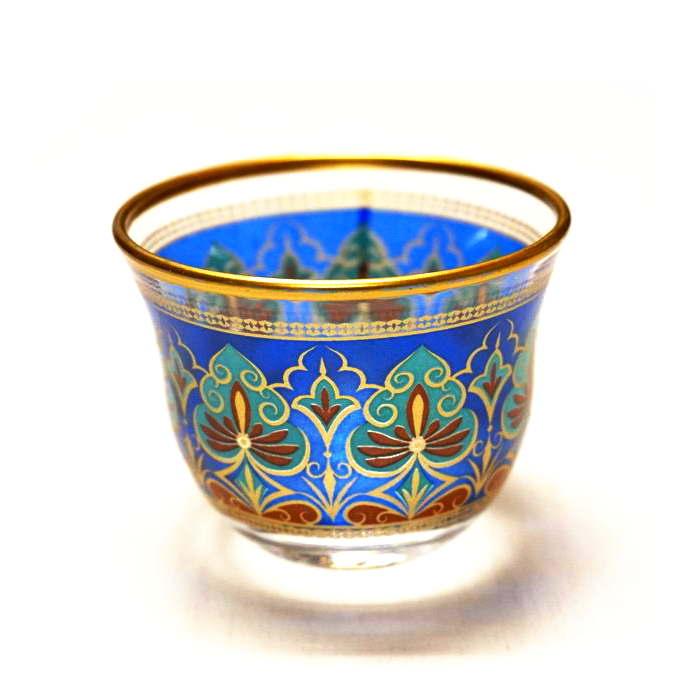 トルコ製ガラスのおちょこ/アラビアコーヒーカップ CK-240 リーフ/ブルー(1客)