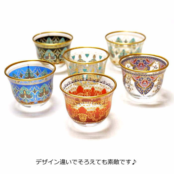 トルコ製ガラスのおちょこ/アラビアコーヒーカップ CK-241 リーフ/ブラック(1客)