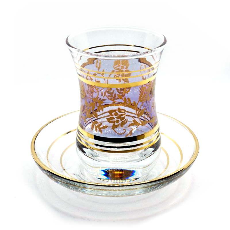 トルコ製チャイグラス CB-260 パープル×ゴールドフラワー (1客)