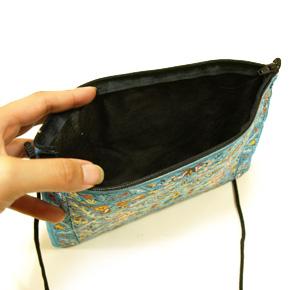 トルコ 絨毯柄ショルダーポーチ NP-FL005 ブルー ストラップ73cm
