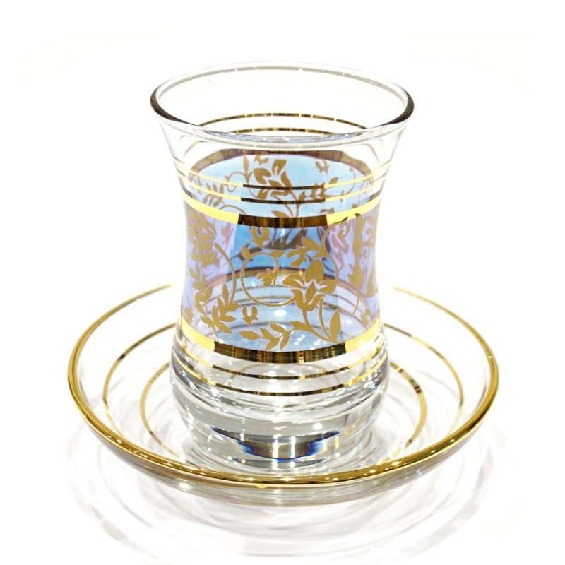 トルコ製チャイグラス CB-231 ブルー×ゴールドフラワー (1客)