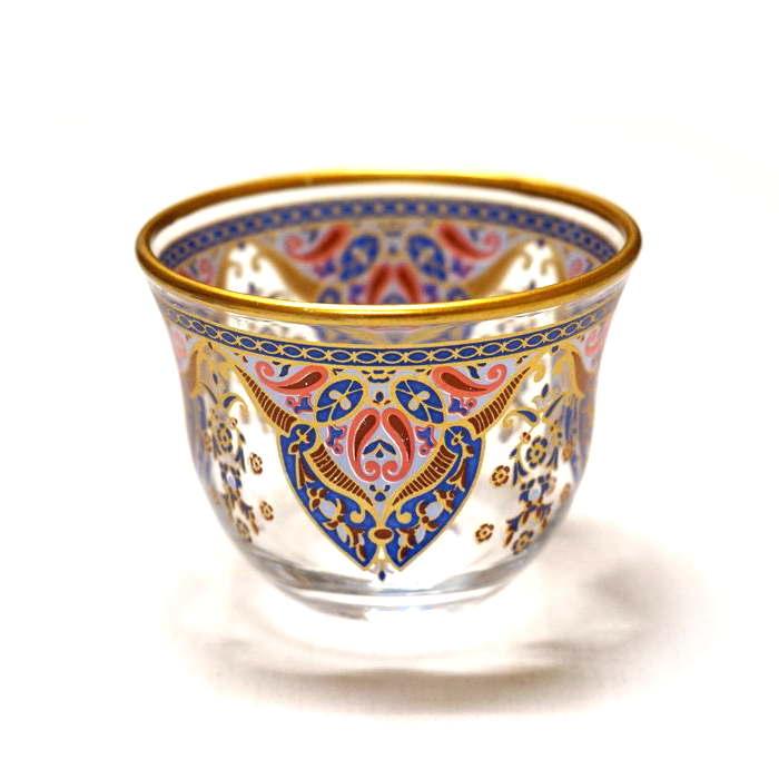 トルコ製ガラスのおちょこ/アラビアコーヒーカップ CK-243 アラベスク/ターコイズxピンク(1客)