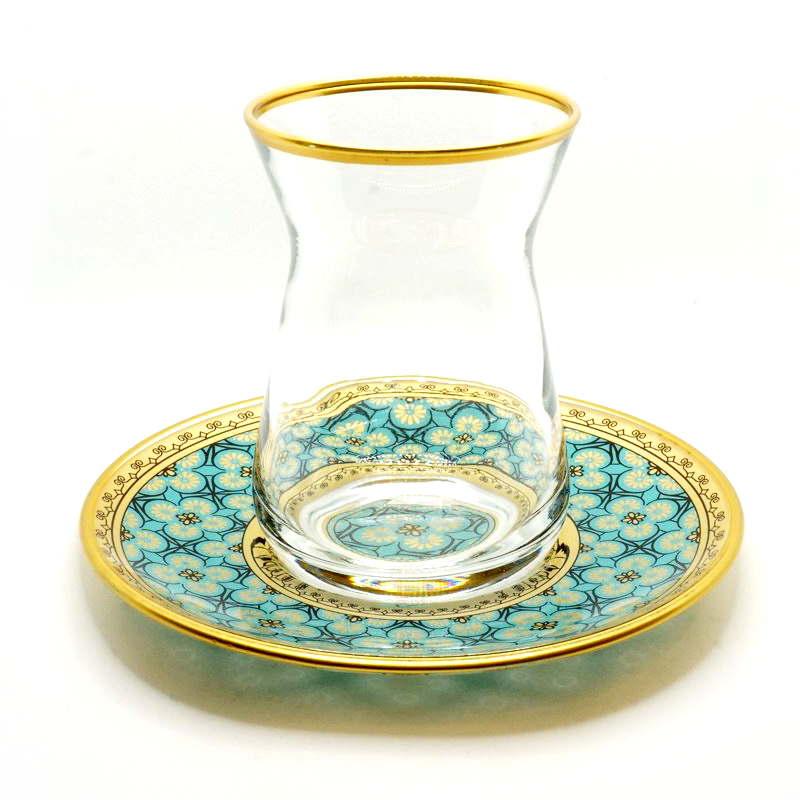 トルコ製チャイグラス CB-259 ゴールドxターコイズ/クリア(1客) 大サイズ