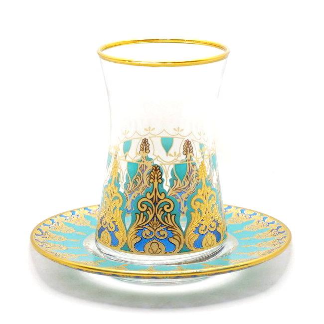 トルコ製チャイグラス CB-242N アラベスク/ターコイズ(1客) 大サイズ