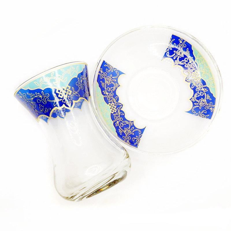 トルコ製チャイグラス CB-265 ターコイズxブルーI (1客) 中サイズ