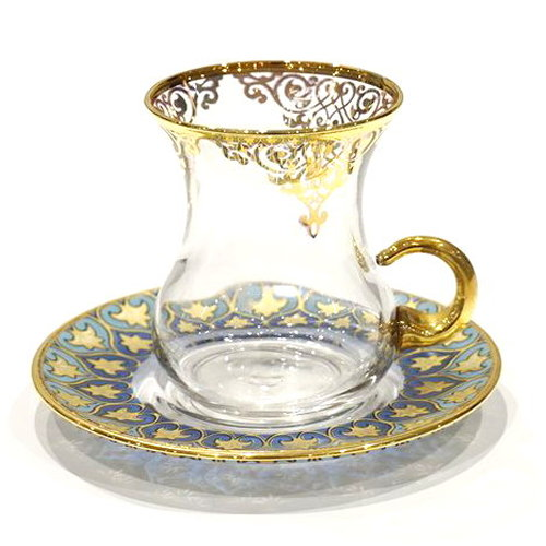 トルコ製チャイグラス CB-236 ゴールドxブルーアラベスク/クリア(1客) 大サイズハンドル付