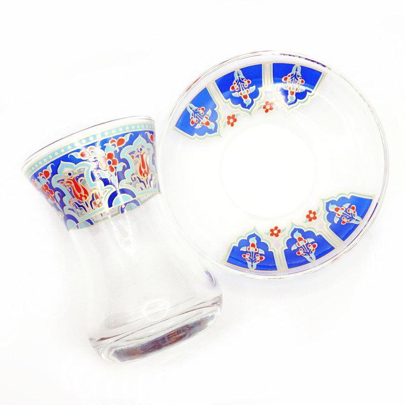 トルコ製チャイグラス CB-267 ラーレ/ブルー (1客) 中サイズ