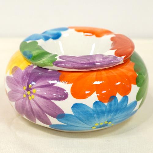 スペイン陶器 SP-5013MF 水灰皿/カラフルお花 ハエン/JAEN