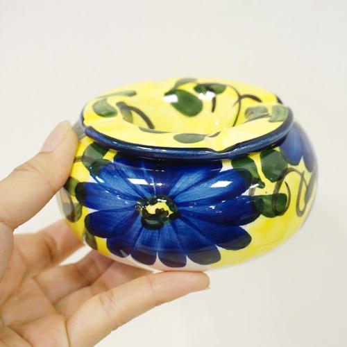 スペイン陶器 SP-5013AA 水灰皿/イエロー×ブルー花柄 ハエン/JAEN