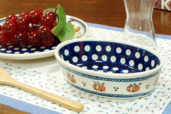 ポーランド陶器 ポーリッシュポタリー 「ボレスワヴィエツ」 オーバルグラタン皿小 GU703-479 オレンジ柄