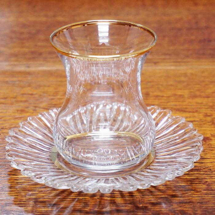トルコ製チャイグラス CB-247 ゴールドxフリル/クリア(1客) 大サイズ