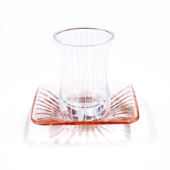トルコ製チャイグラス CB-248 カットグラス ストライプ/クリアxピンク(1客)