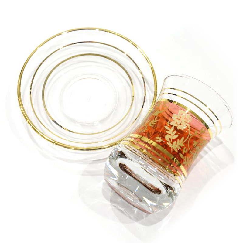 トルコ製チャイグラス CB-136 レッド×ゴールドフラワー(1客)