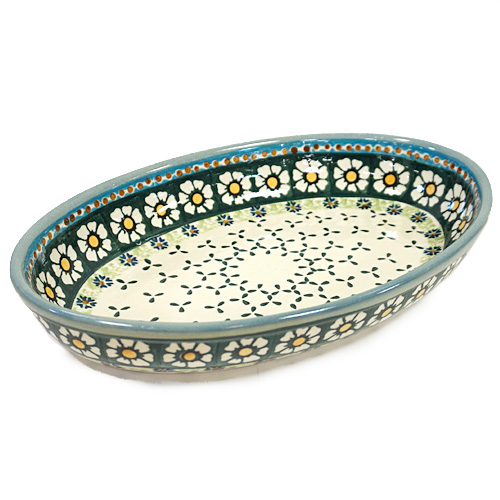 ポーランド陶器 ポーリッシュポタリー 「WIZA」 オーバルオーブン皿大 W210-25A カモミール柄