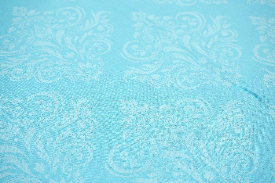 フランス製 ジャカード織 撥水テーブルクロス☆ ルネサンス/ターコイズ 160x160cmサイズ F160160-RNSN-TQ