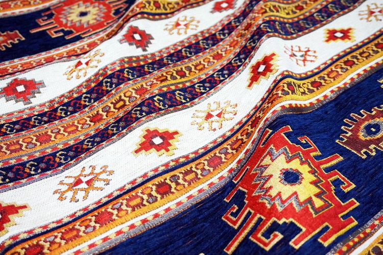 トルコ製マルチカバー(ベッドカバー)◆セミダブルサイズ◆MC-SW-KLNVWT キリム柄/ネイビーxホワイト