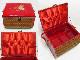 レトロな裁縫箱 赤いバスケット 鶴の刺繍