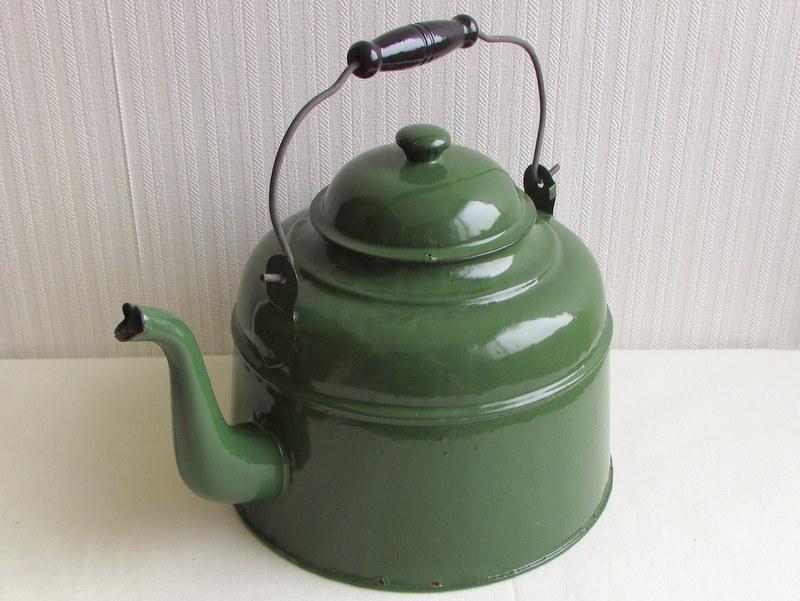 RP036 グリーンのホーローやかん 薬缶 ケトル 4L
